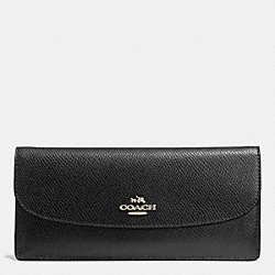 COACH F52689 Soft Wallet In Leather LIGHT GOLD/BLACK