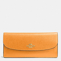 COACH F52689 Soft Wallet In Leather IMITATION GOLD/ORANGE PEEL