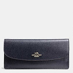 COACH F52689 Soft Wallet In Leather LIGHT GOLD/MIDNIGHT
