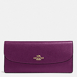 COACH F52689 Soft Wallet In Leather IMITATION GOLD/PLUM