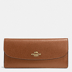 COACH F52689 Soft Wallet In Leather LIGHT GOLD/SADDLE F34493