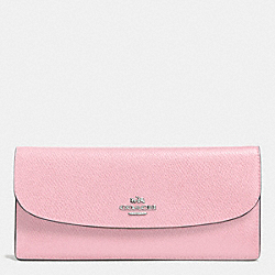 COACH F52689 Soft Wallet In Leather SILVER/PETAL