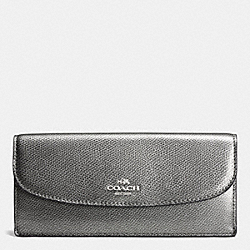 COACH F52689 Soft Wallet In Leather SILVER/GUNMETAL