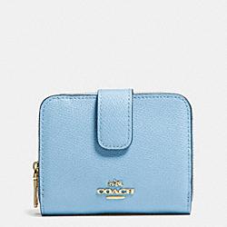 COACH F52692 Medium Zip Around Wallet In Leather  LIGHT GOLD/PALE BLUE