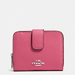 COACH F52692 Medium Leather Zip Around Wallet SILVER/SUNSET RED