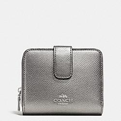 COACH F52692 Medium Zip Around Wallet In Leather  SILVER/PEWTER