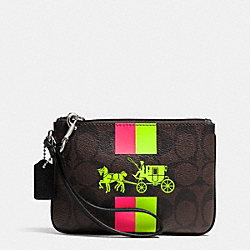 COACH F52704 Small Wristlet With Stripe In Signature Canvas SILVER/BROWN/NEON