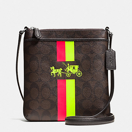 60d1665822c3 COACH f52705 NORTH SOUTH CROSSBODY WITH STRIPE IN SIGNATURE CANVAS SILVER  BROWN NEON