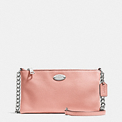 COACH F52709 Quinn Crossbody In Pebble Leather SILVER/BLUSH