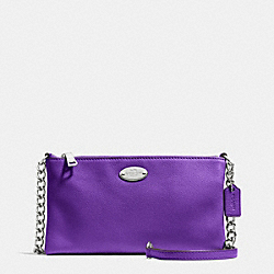 COACH F52709 - QUINN CROSSBODY IN PEBBLE LEATHER SILVER/PURPLE IRIS