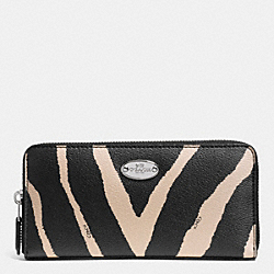 COACH F52710 Accordion Zip Wallet In Zebra Print Canvas SILVER/BLACK MULTI