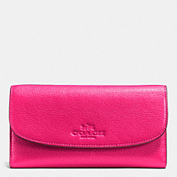 COACH F52715 Checkbook Wallet In Pebble Leather LIGHT GOLD/PINK RUBY