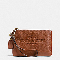 COACH F52717 Pebble Leather Small Wristlet LIGHT GOLD/SADDLE