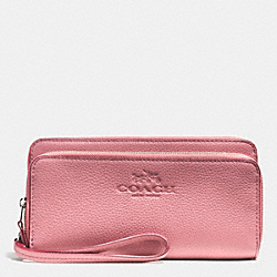 COACH F52718 Pebble Leather With Double Accordian Zip Wallet SILVER/SHADOW ROSE