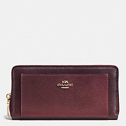 COACH F52756 Accordion Zip Wallet In Bicolor Crossgrain Leather IME8I