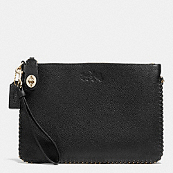 COACH F52776 Turnlock Wristlet 26 In Whiplash Leather LIGHT GOLD/BLACK