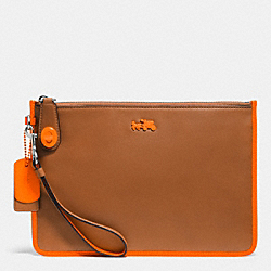 COACH F52797 C.o.a.c.h. Turnlock Wristlet 26 In Calf Leather SILVER/SADDLE/NEON ORANGE