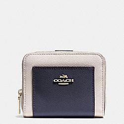 COACH F52846 Medium Zip Around Wallet In Bicolor Crossgrain Leather  LIGHT GOLD/MIDNIGHT/CHALK
