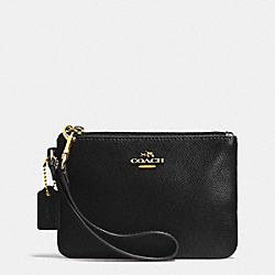 COACH F52850 Crossgrain Leather Small Wristlet LIGHT GOLD/BLACK