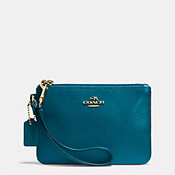 COACH F52850 Crossgrain Leather Small Wristlet LIGHT GOLD/TEAL