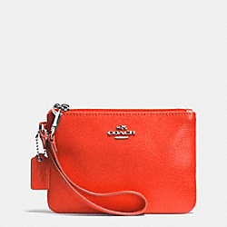 COACH F52850 Crossgrain Leather Small Wristlet SILVER/CORAL