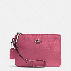 COACH F52850 Crossgrain Leather Small Wristlet SILVER/SUNSET RED