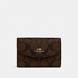 COACH F52852 - KEY CASE IN SIGNATURE CANVAS BROWN/BLACK/GOLD