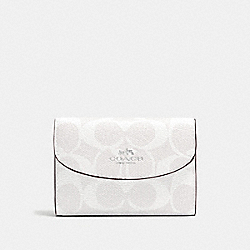 COACH F52852 Key Case In Signature Canvas SILVER/CHALK/MIDNIGHT