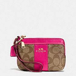 COACH F52853 Double Corner Zip Wristlet In Signature Coated Canvas  LIGHT GOLD/KHAKI/PINK RUBY