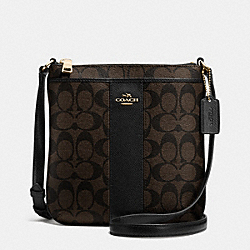COACH F52856 Signature Coated Canvas With Leather North/south Crossbody LIGHT GOLD/BROWN/BLACK