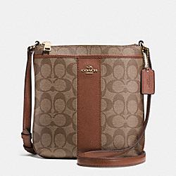 COACH F52856 - SIGNATURE COATED CANVAS WITH LEATHER NORTH/SOUTH CROSSBODY LIGHT GOLD/KHAKI/SADDLE