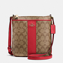 COACH F52856 - SIGNATURE COATED CANVAS WITH LEATHER NORTH/SOUTH CROSSBODY LIGHT GOLD/KHAKI/RED