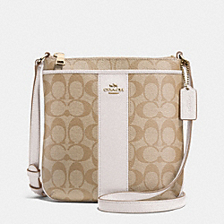 COACH F52856 - SIGNATURE COATED CANVAS WITH LEATHER NORTH/SOUTH CROSSBODY  LIGHT GOLD/LIGHT GOLDGHT KHAKI/CHALK
