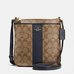 COACH F52856 - NORTH/SOUTH CROSSBODY IN SIGNATURE  LIGHT GOLD/KHAKI/MIDNIGHT