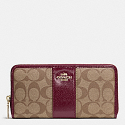 COACH F52859 Accordion Zip Wallet In Signature Canvas With Leather IMITATION GOLD/KHAKI/SHERRY