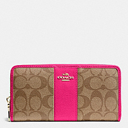 COACH F52859 Accordion Zip Wallet In Signature Canvas With Leather  LIGHT GOLD/KHAKI/PINK RUBY