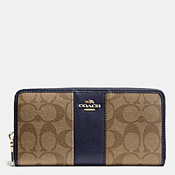 COACH F52859 Signature Canvas With Leather Accordion Zip Wallet LIGHT GOLD/KHAKI/MIDNIGHT