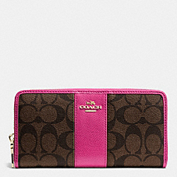 COACH F52859 Accordion Zip Wallet In Signature Coated Canvas With Leather IME9T