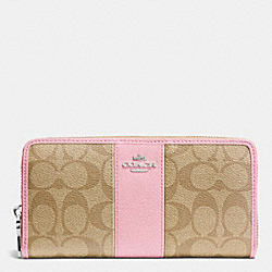 COACH F52859 Accordion Zip Wallet In Signature Canvas With Leather SILVER/LIGHT KHAKI/PETAL