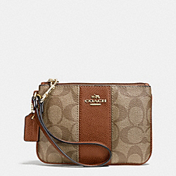 COACH F52860 Small Wristlet In Signature Canvas  LIGHT GOLD/KHAKI/SADDLE