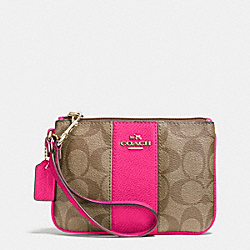 COACH F52860 Small Wristlet In Signature Canvas  LIGHT GOLD/KHAKI/PINK RUBY