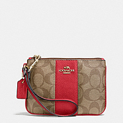 COACH F52860 Signature Canvas Small Wristlet With Leather LIGHT GOLD/KHAKI/RED