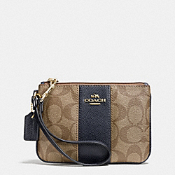 COACH F52860 Signature Canvas Small Wristlet With Leather LIGHT GOLD/KHAKI/MIDNIGHT