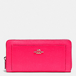 COACH F52867 Accordion Zip Wallet In Crossgrain Leather SILVER/NEON PINK