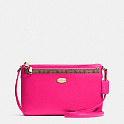 COACH F52881 Crossgrain Leather East/west Pop Crossbody IMITATION GOLD/PINK RUBY