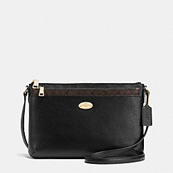 COACH F52881 - CROSSGRAIN LEATHER EAST/WEST POP CROSSBODY LIGHT GOLD/BLACK