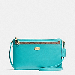 COACH F52881 - EAST/WEST POP CROSSBODY IN CROSSGRAIN LEATHER  LIGHT GOLD/CADET BLUE