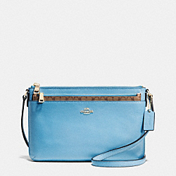 COACH F52881 - EAST/WEST POP CROSSBODY IN CROSSGRAIN LEATHER IMITATION GOLD/BLUEJAY