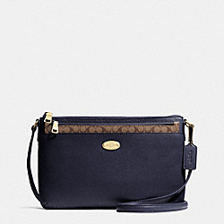 COACH F52881 East/west Pop Crossbody In Crossgrain Leather IMITATION GOLD/MIDNIGHT