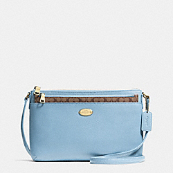 COACH F52881 - CROSSBODY WITH POP UP POUCH IN CROSSGRAIN LEATHER LIGHT GOLD/PALE BLUE